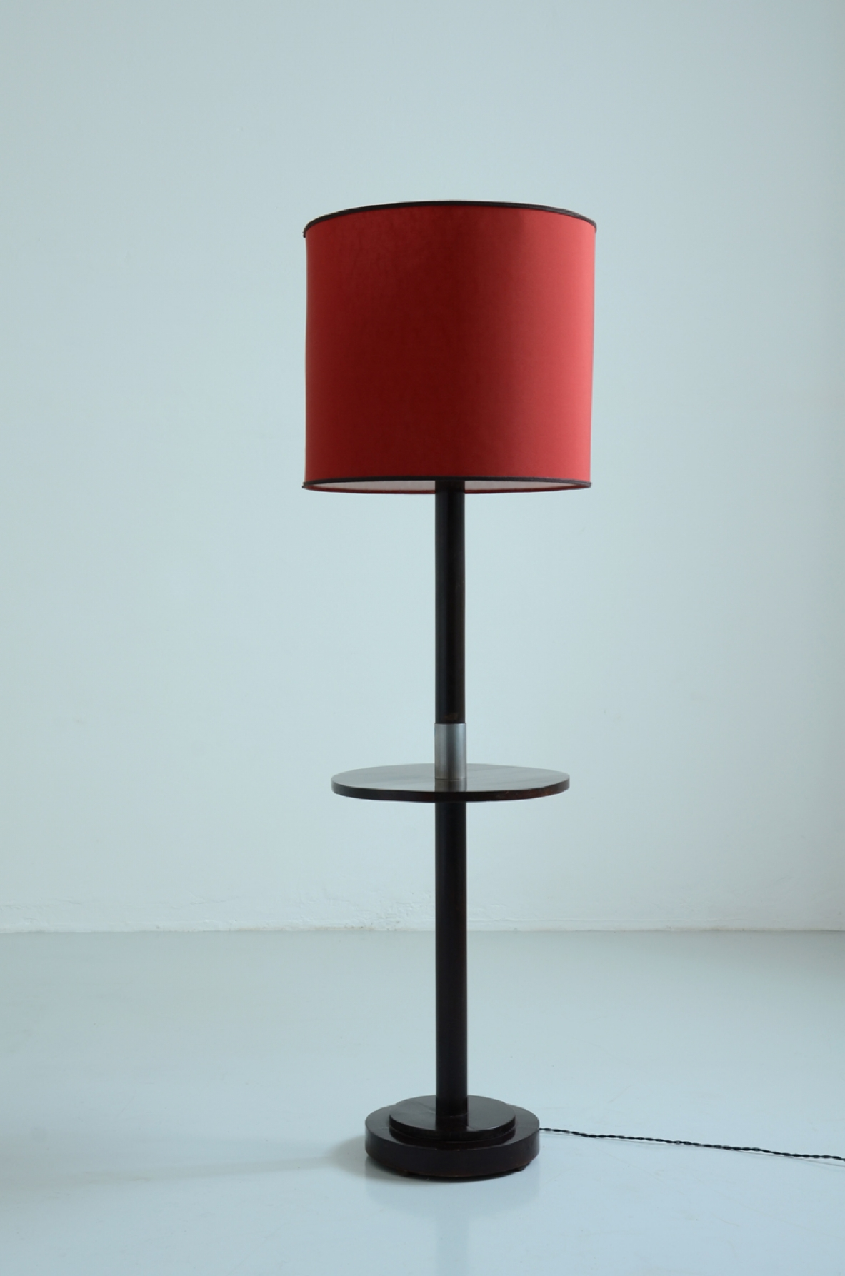 Art Deco floor lamp with a small shelf, metal detail and silk shade, France, 1940's.