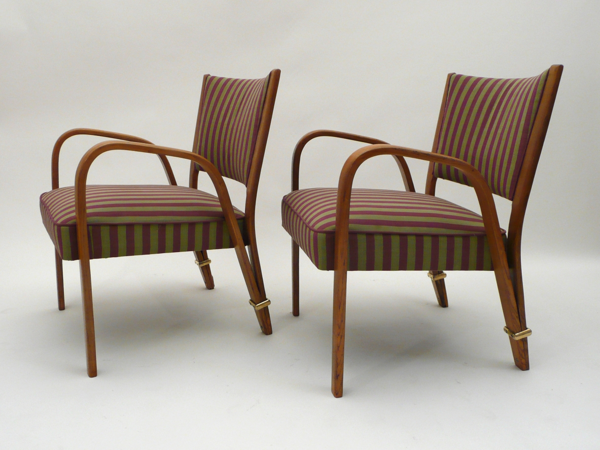 Hugues Steiner, pair of armchairs with ring in bronze, France 1948.