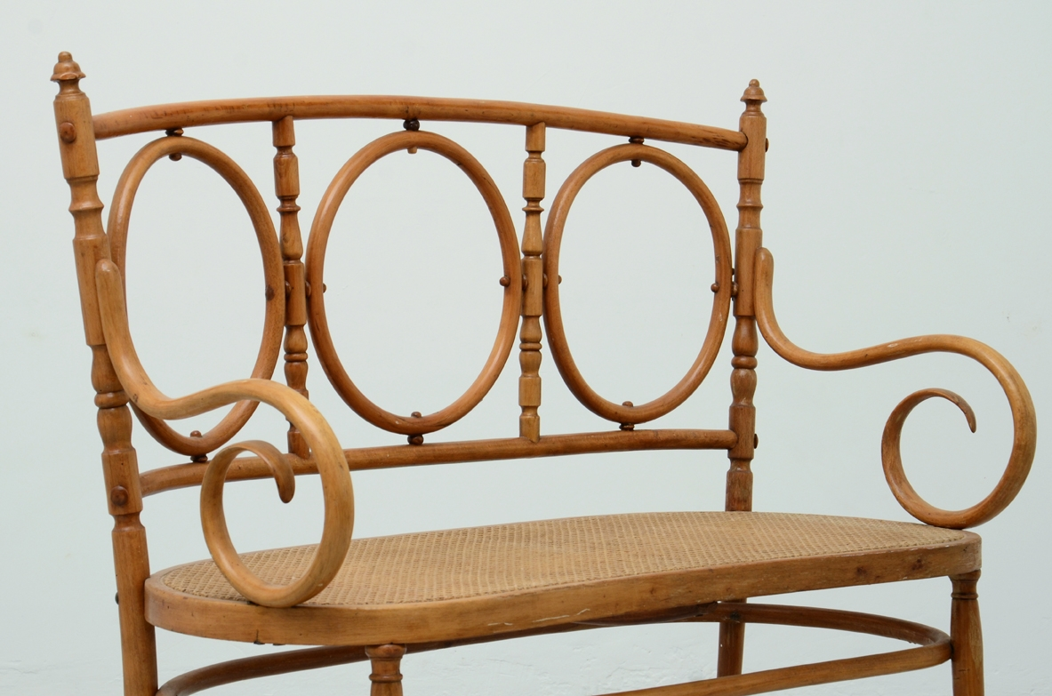 Thonet sofa in bent wood with straw seat, Vienna 1880's.