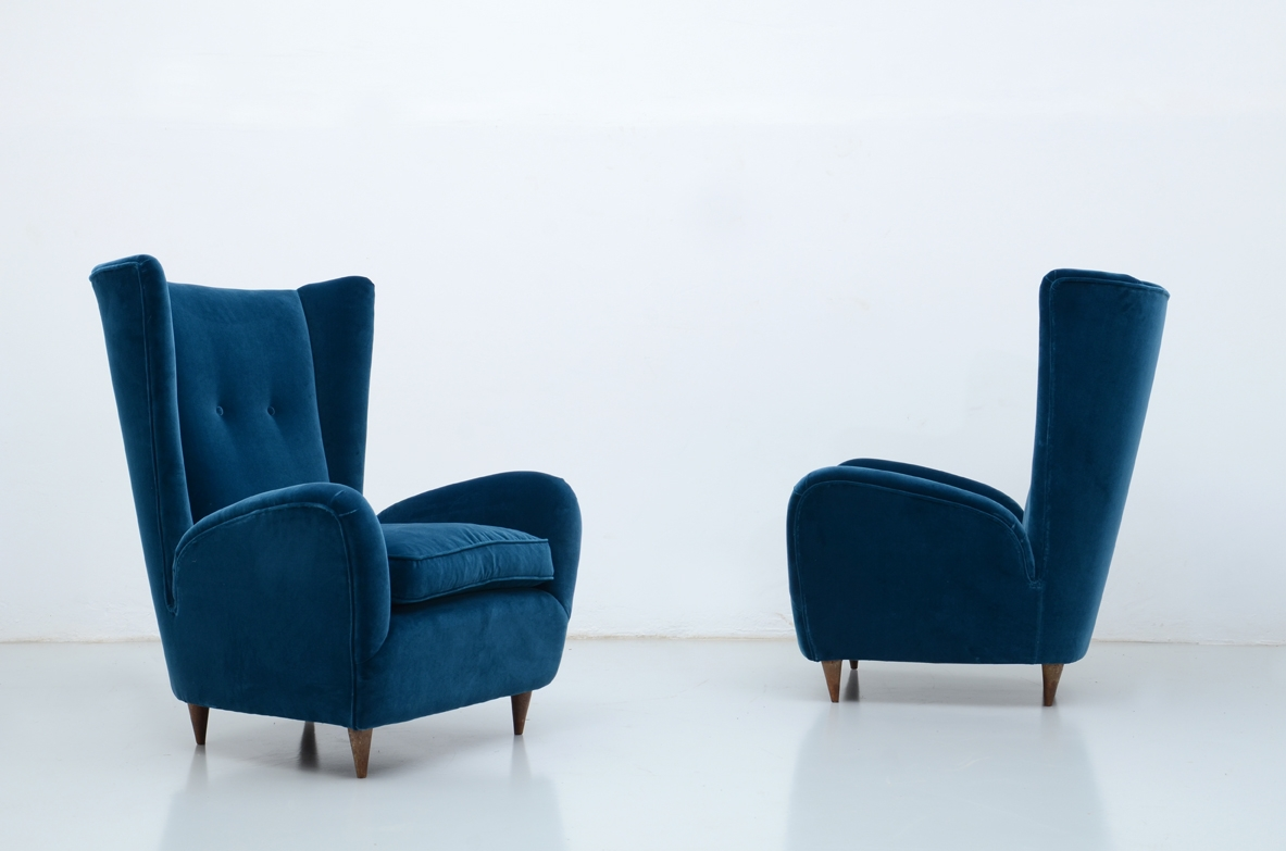Paolo Buffa, elegant pair of 1940's armchairs.
