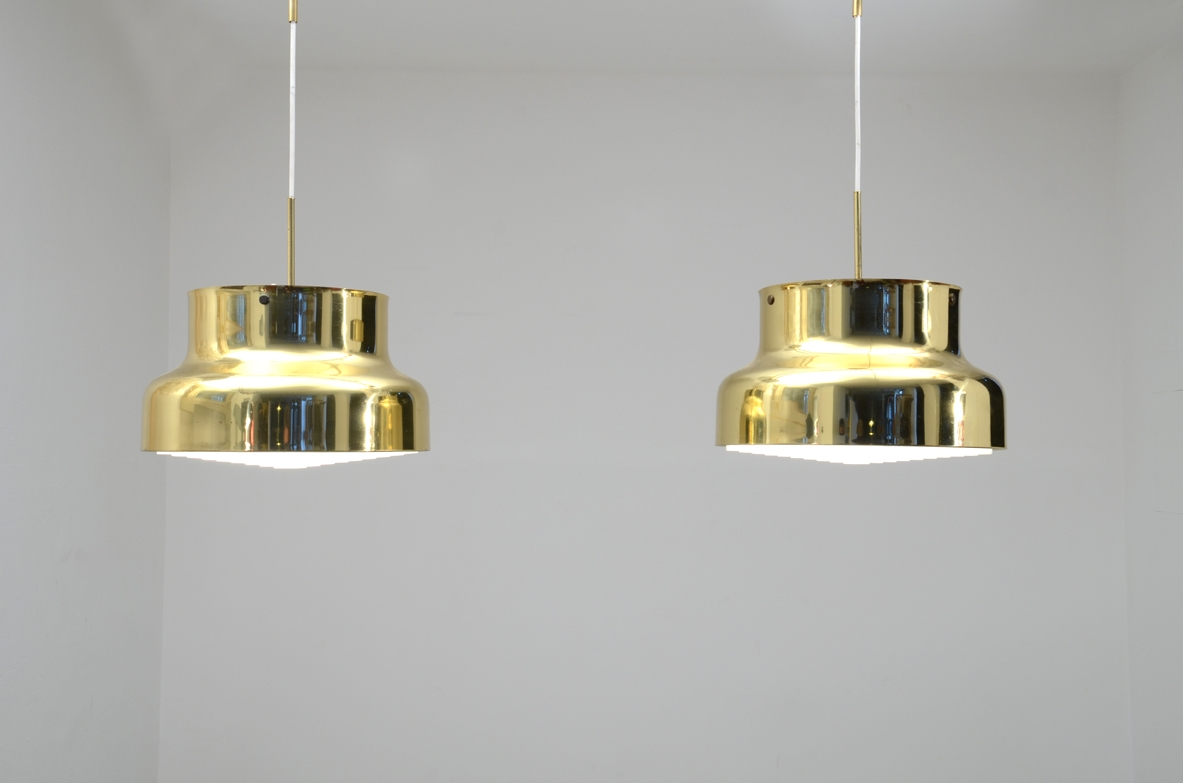 Pair of Swedish 1970s brass hanging lamps by Anders Pehrson for Atelje Lyktan.