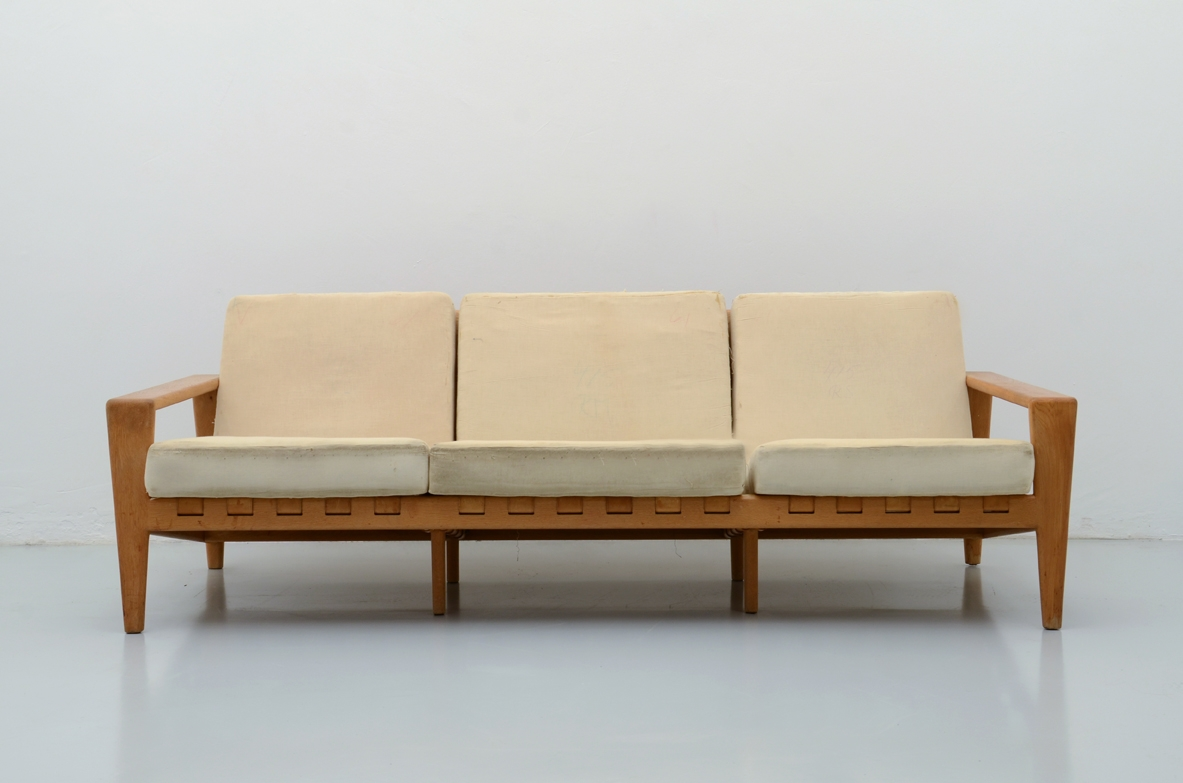 Svante Skogh, 1950's modernist three seats sofa in oak with original leather seat and back structure in perfect condition.