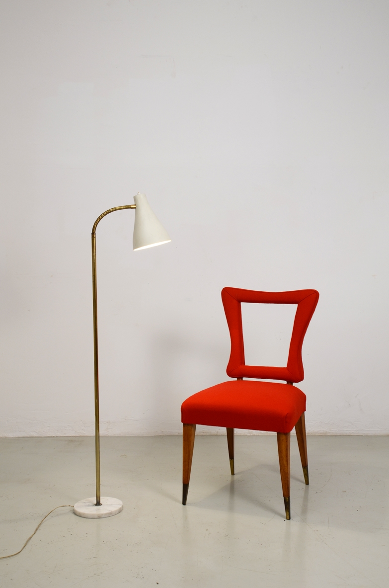 Floor lamp in metal and brass stem with marble base , Italy 1950