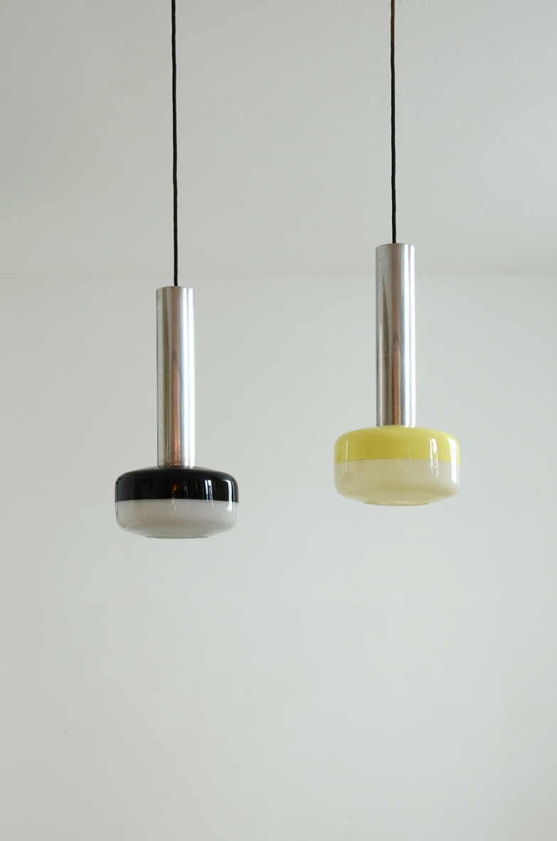 Stilnovo pair of metal and lucite lamps with original label of the mid-50s