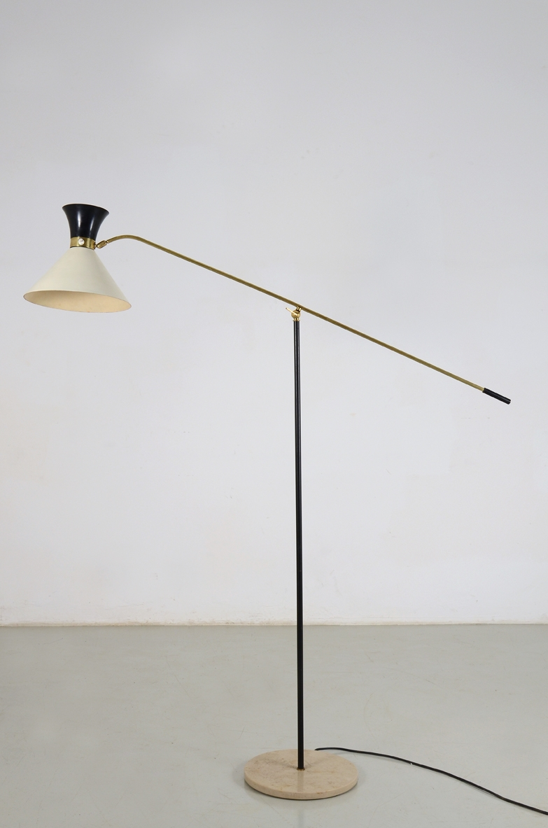 Floor lamp in metal  and marble base, Italy 1950ca.