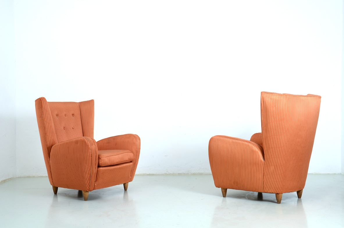 Paolo Buffa, pair of 1940's high back armchairs.