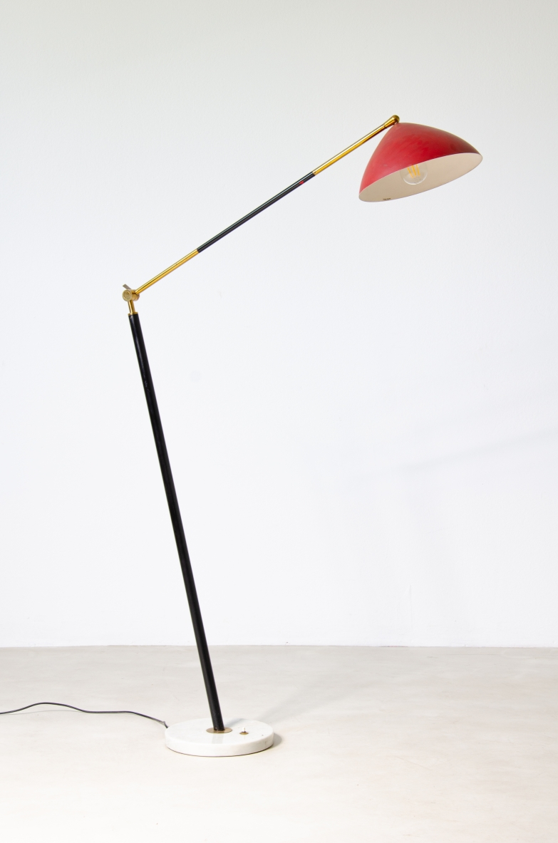 Stilux 1950's floor lamp in metal and brass with painted shade and marble base. Original stamp inside.