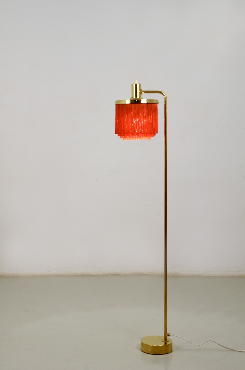 H.Agne Jacobsson, Sweden very rare 1950's floor lamp in btass with silk hair shade.