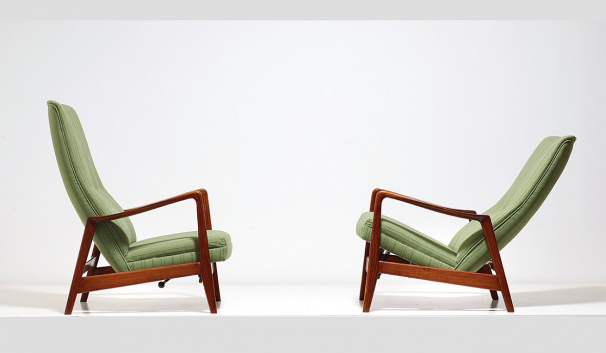 Gio Ponti, pair of adjustable armachairs in ash tree mod.829