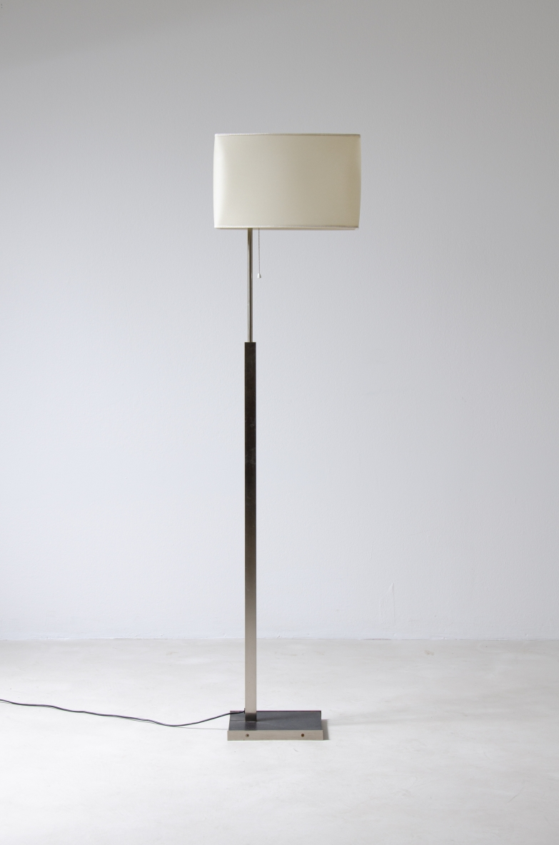 Stilnovo, a rare floor lamp with a brass structure and fabric lampshade