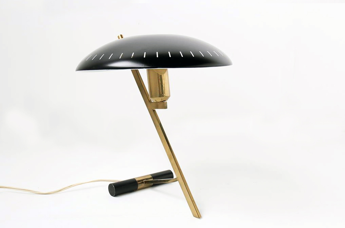 Luis C.Kallf per Philips, Z table lamp in brass and metal, 1954.