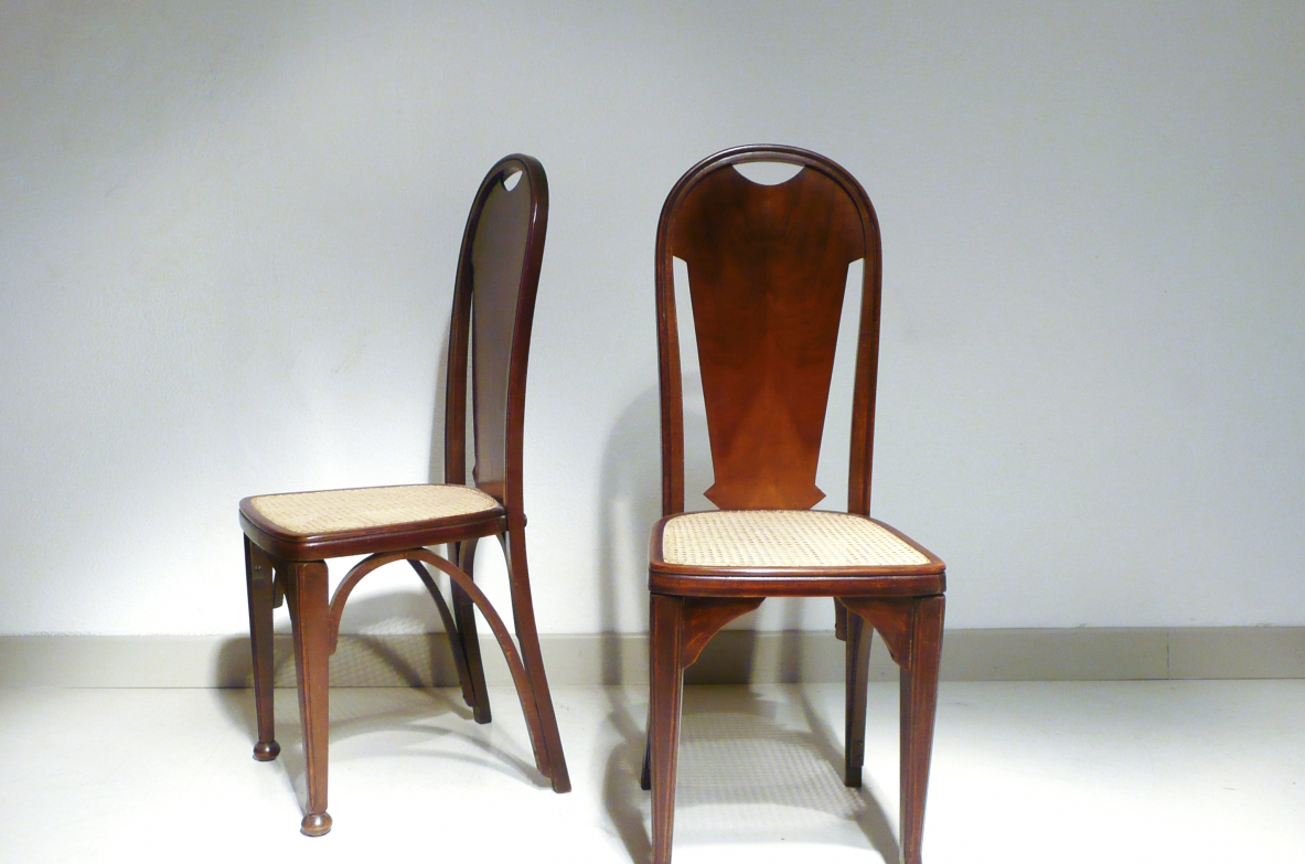 Pair of high back chairs, Vienna 1900'.