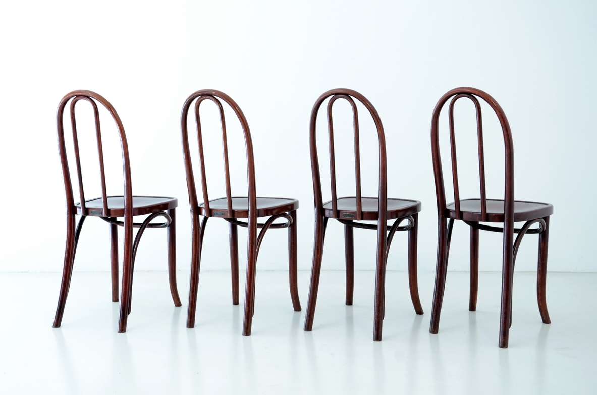 Koloman Moser, set of four rare chairs produced by Thonet, Austria, 1900ca.