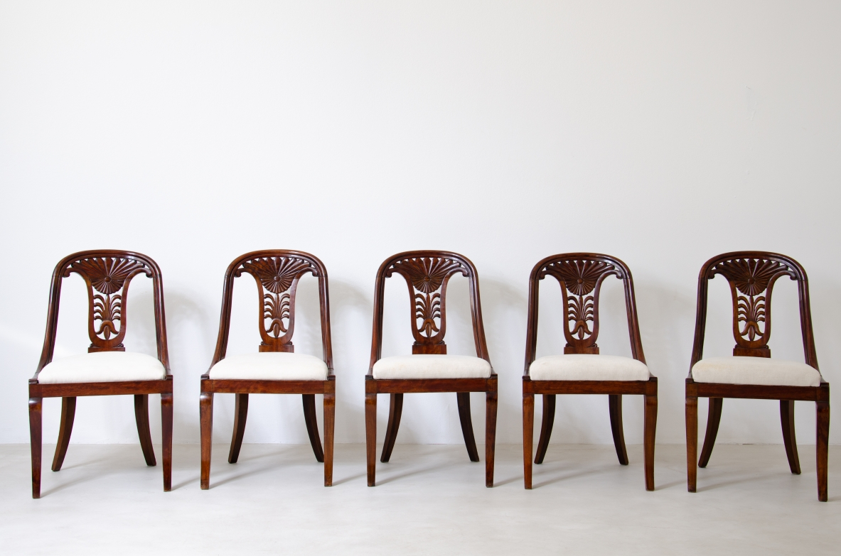 Rare set of twelve refined dining chairs in walnu