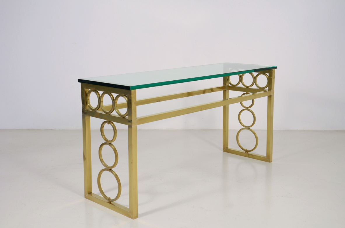 Pair of 1970's French bronze console tables