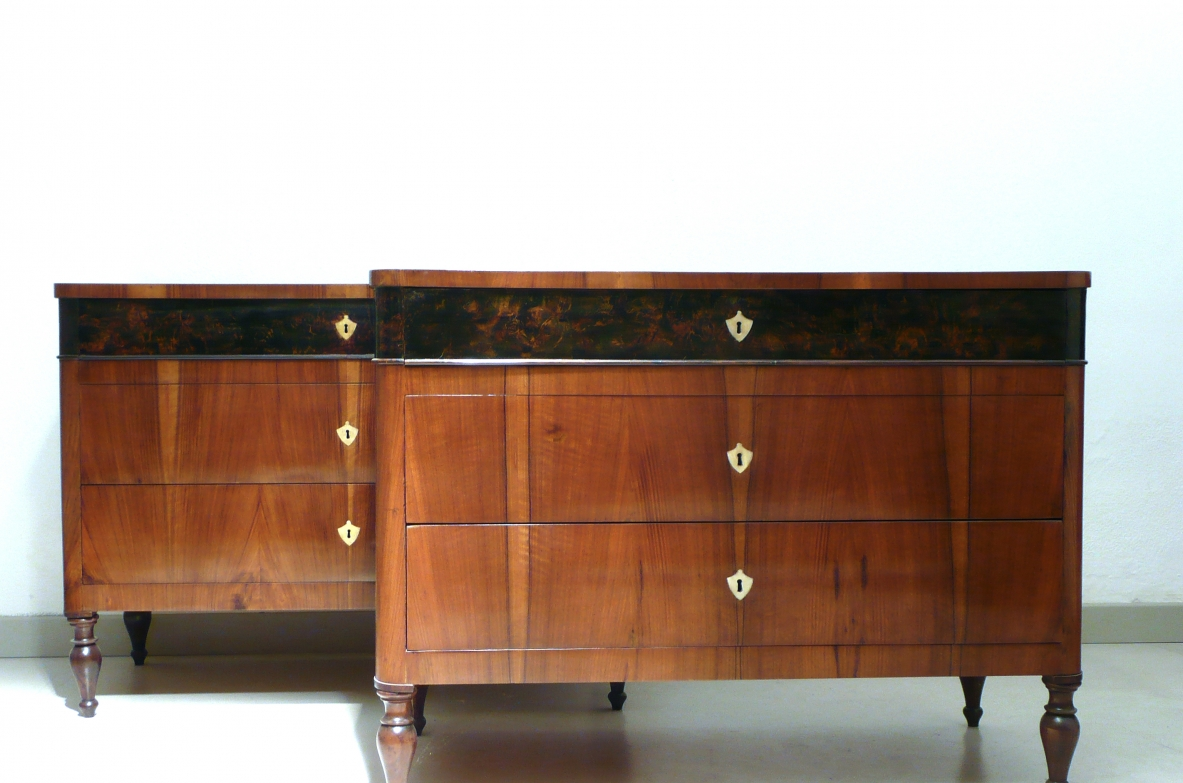 Rare pair of 1830's North Italian chest of drawers in walnut