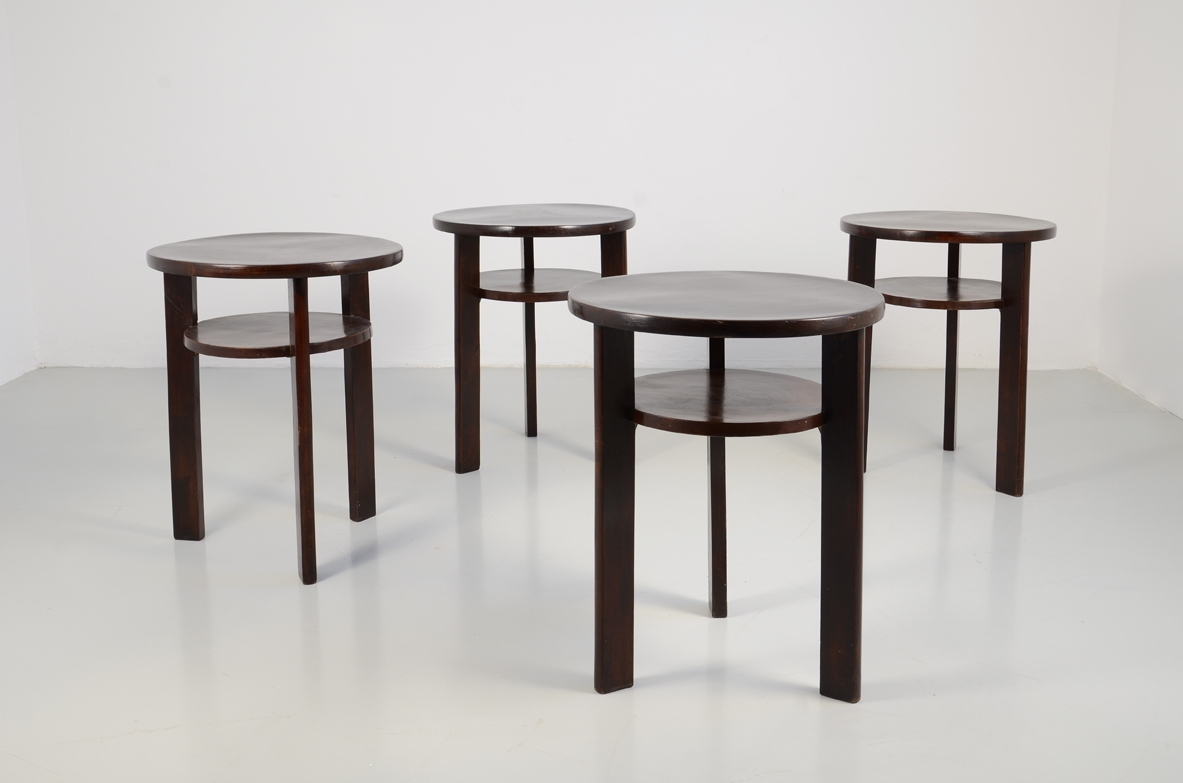 Set of five 1940's coffee tables in polished mahogany.