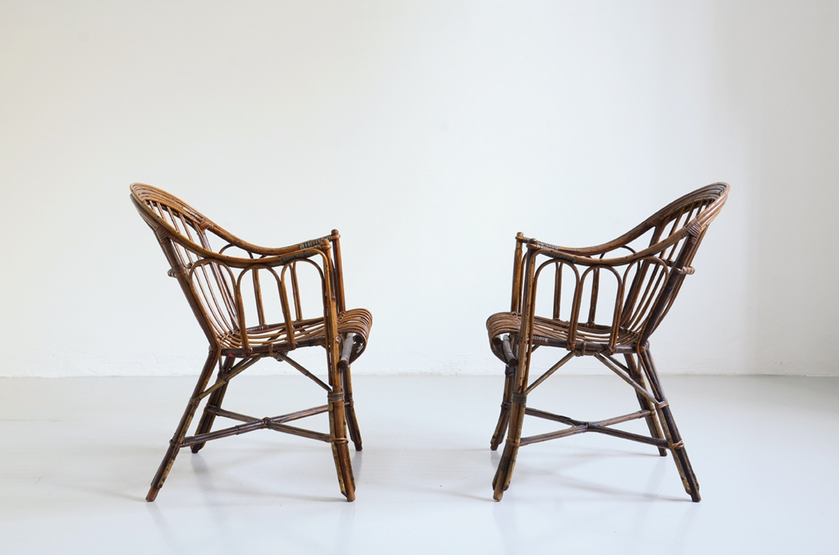 Pair of light armchairs, Italy 1950's.