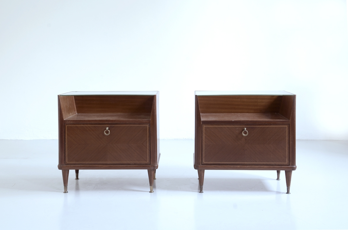 Paolo Buffa, 1950's pair of bed tables