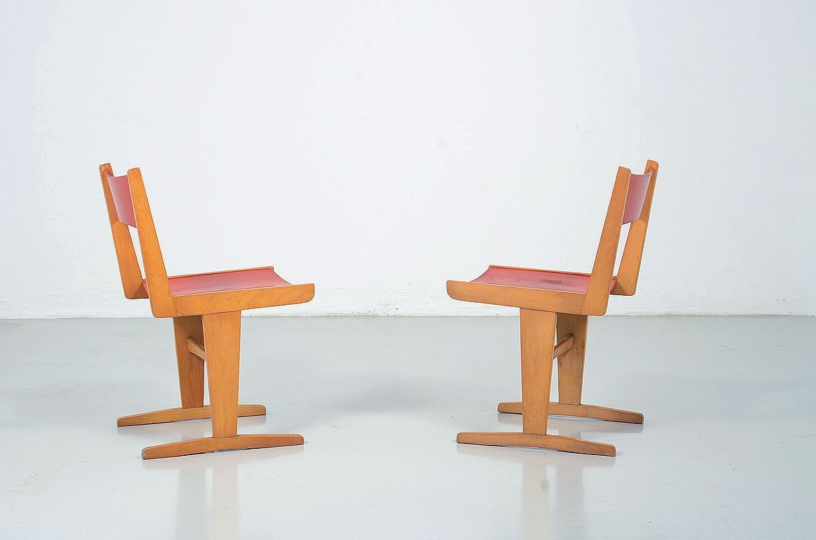 Pair of French 1950's children chairs.