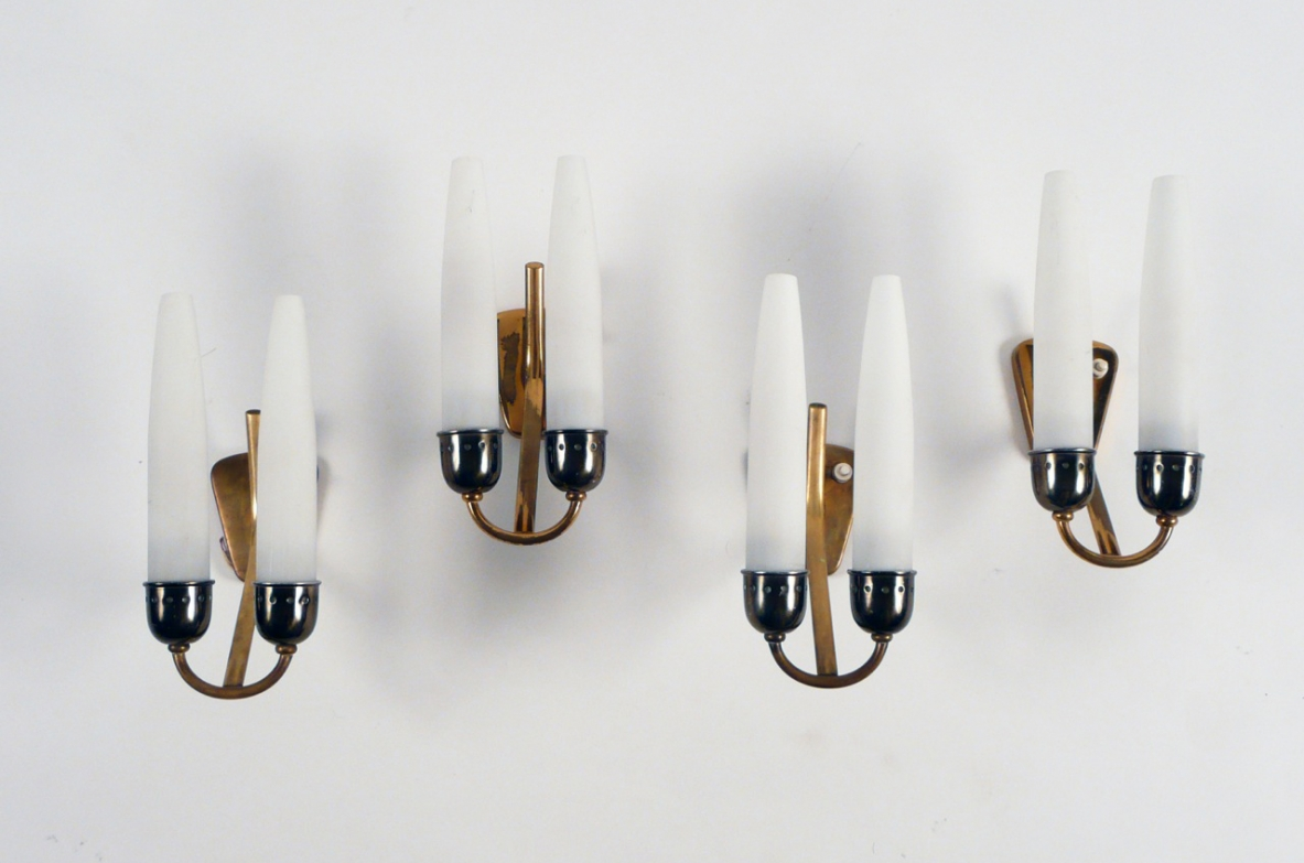 Set of four Italian 1950's wall lights