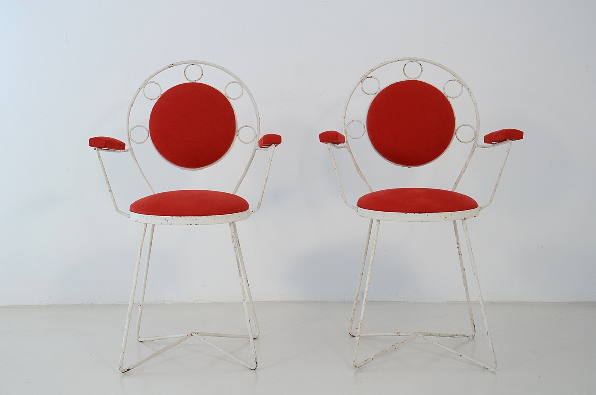 Pair of garden chairs upholstered in a red cotton, Italy 1950's.
