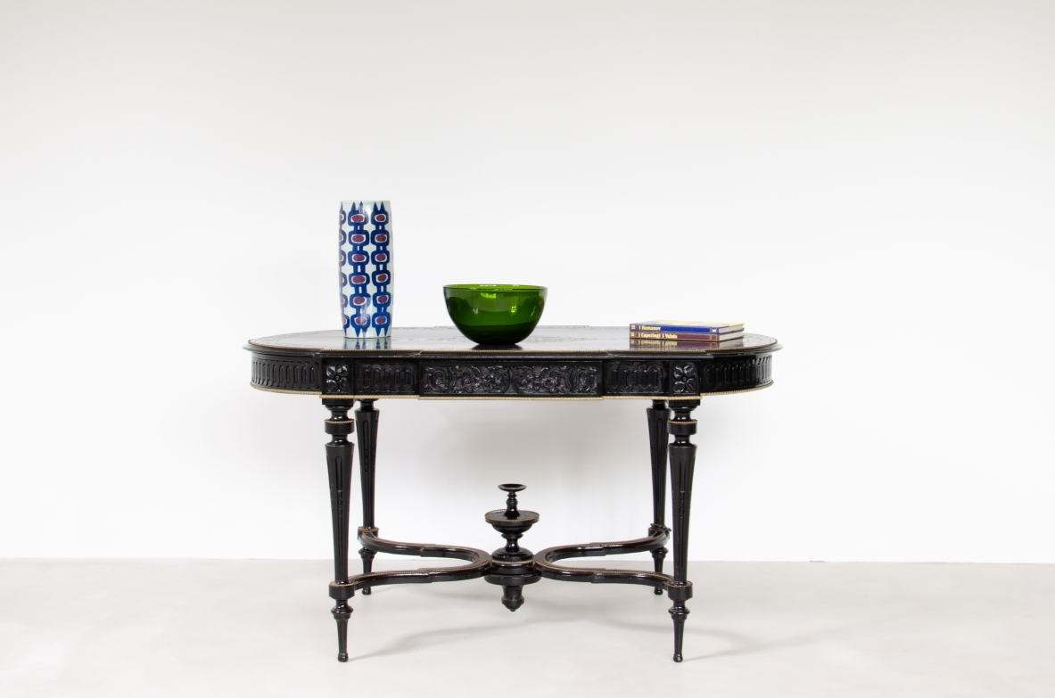 French 1880's table in black polished wood