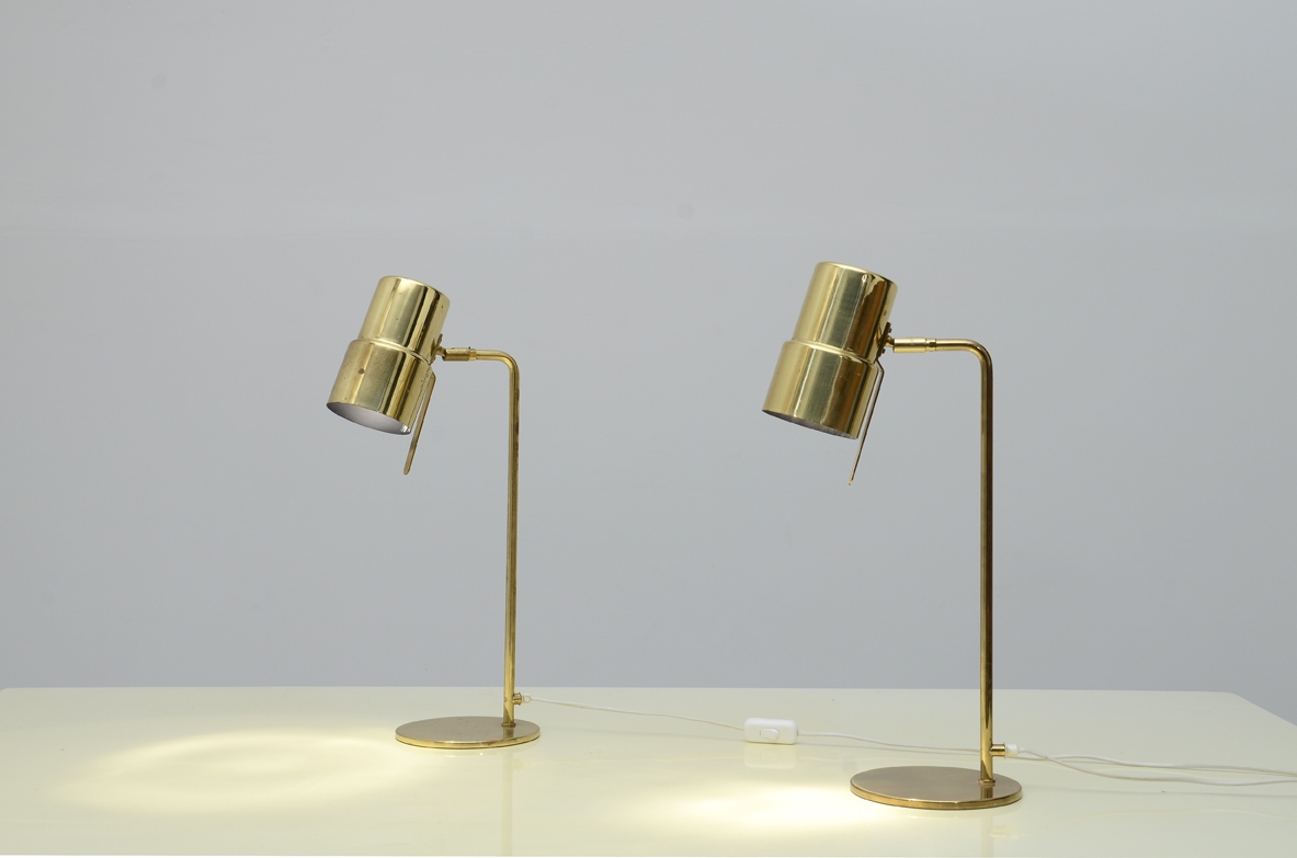 Hans-Agne Jakobsson Model B195/2 table lamp  Produced by Hans Agne Jakobsson AB Brass structure Sweden, 1960s