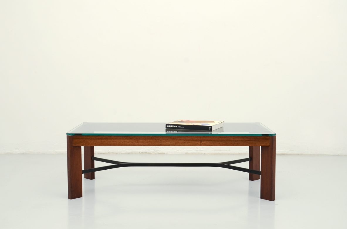 Italian 1960's low table in macassar wood