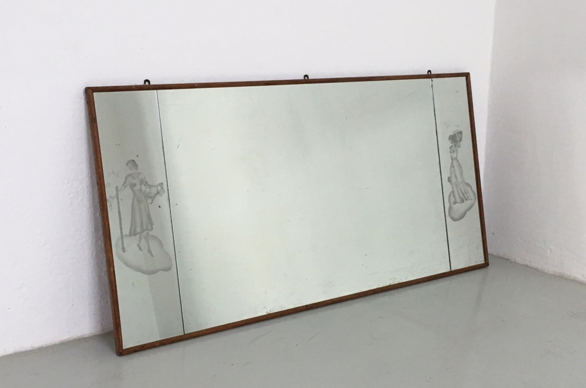 Big mirror frame with engraved figures, Italy 1940's.