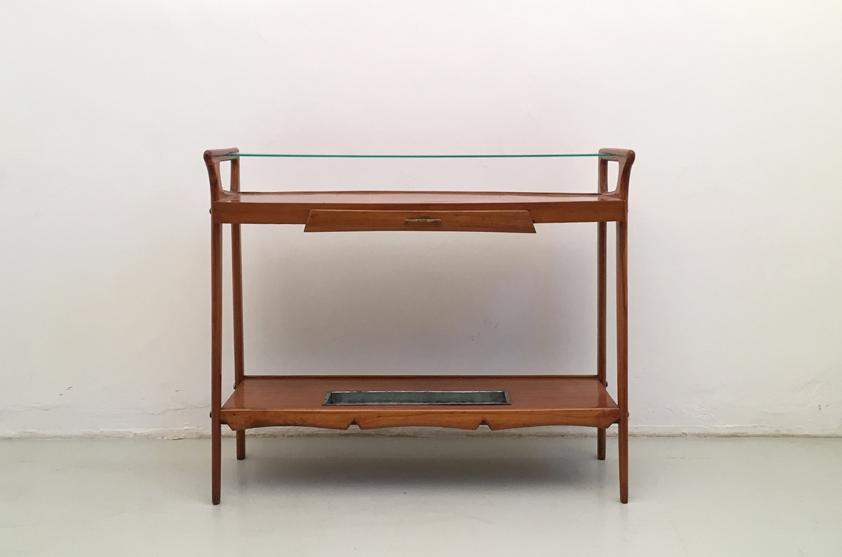 Italian 1950's console table in cherry wood.
