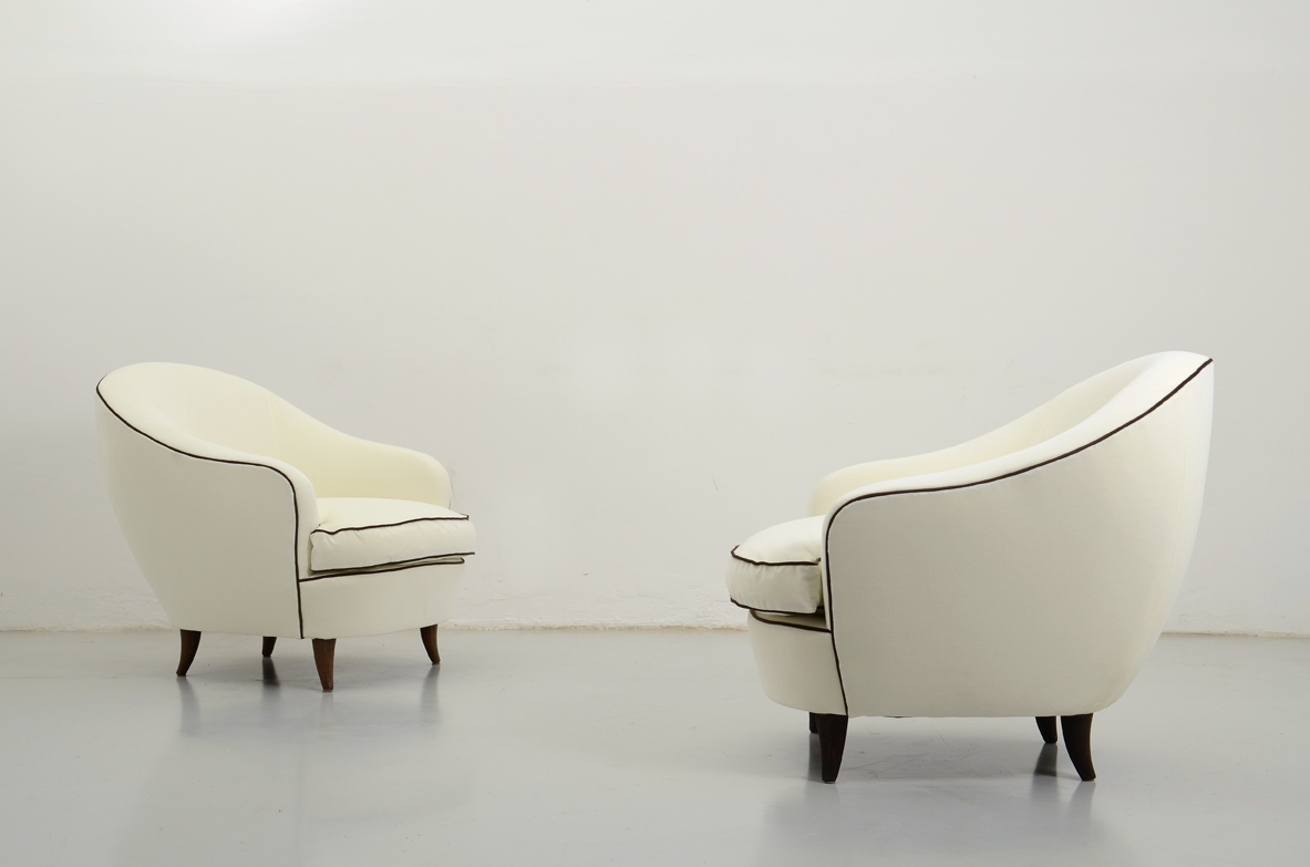 Gio Ponti, pair of elegant 1930's armchairs