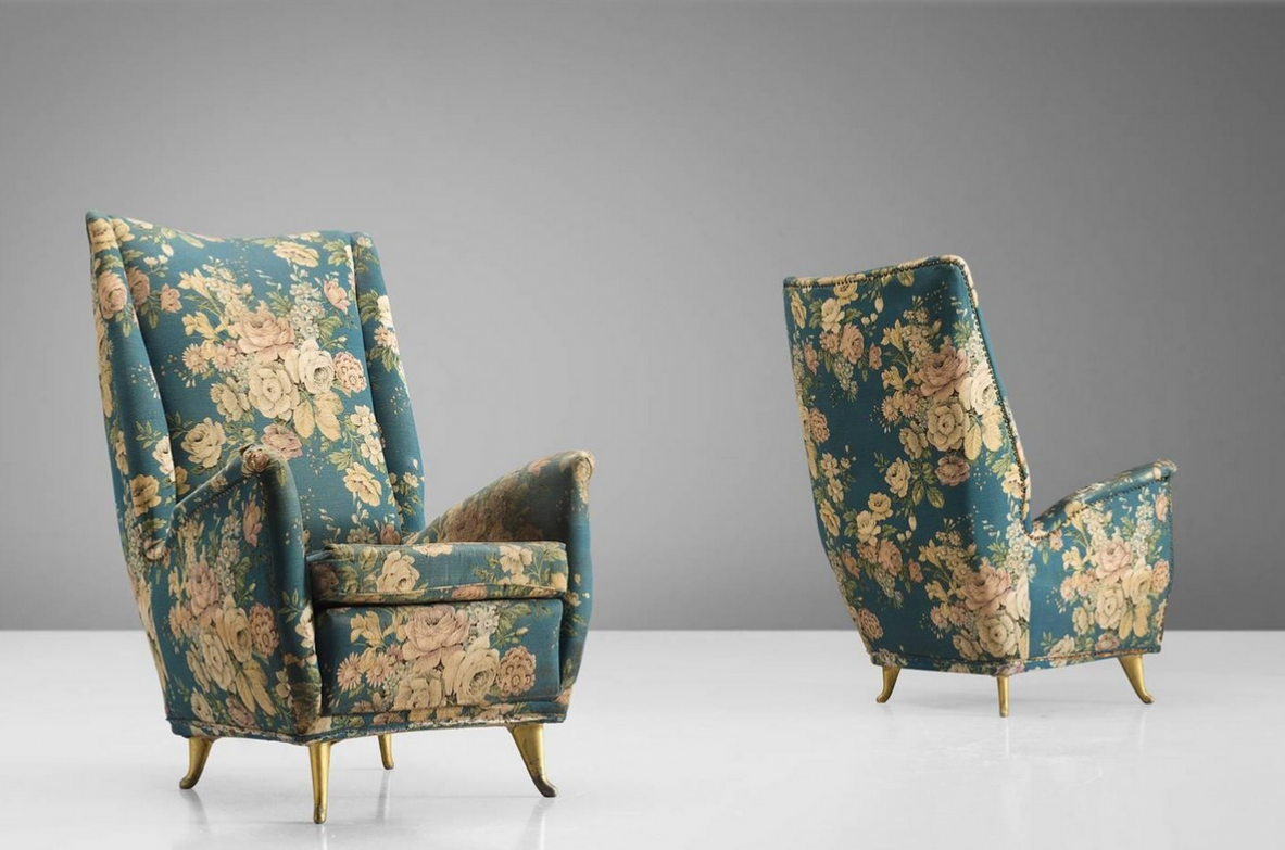 Gio Ponti, pair of stunning 1950's high back armchairs produced by Isa.