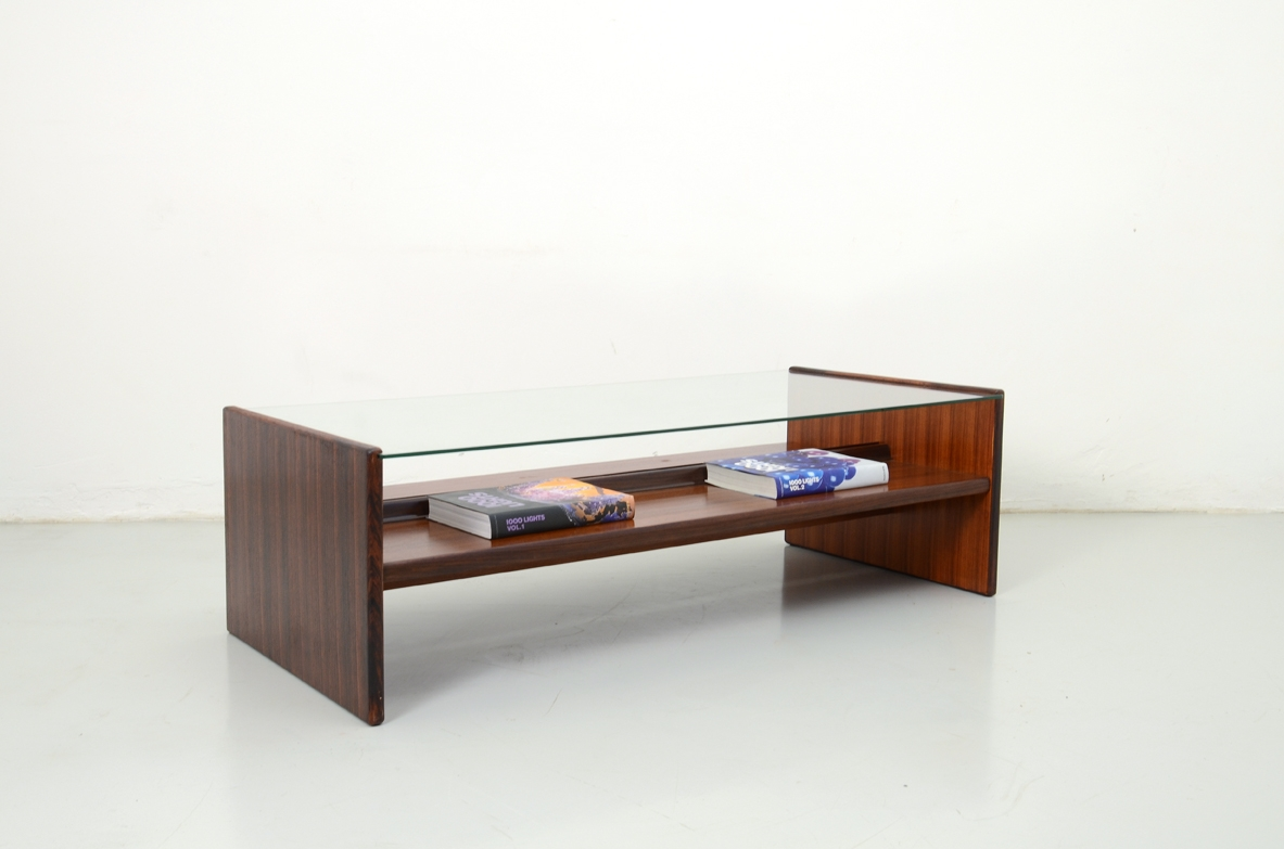 1960's Italian low table in macassar with glass top.