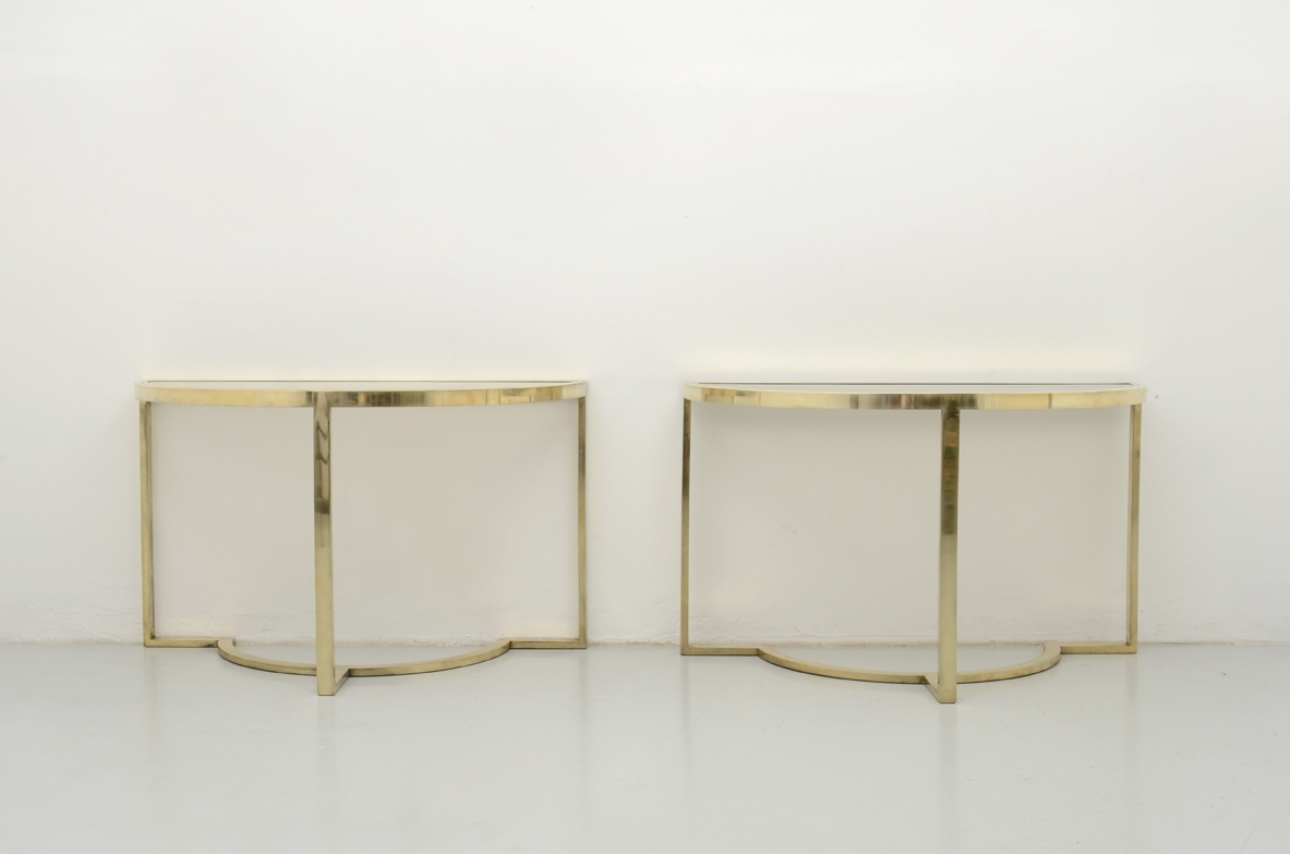 1970's Pair of vintage consoles in brass