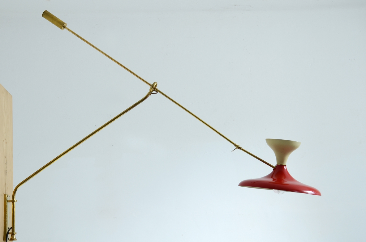 Wall lamp, brass and metal lacquered, Italy 1950's.