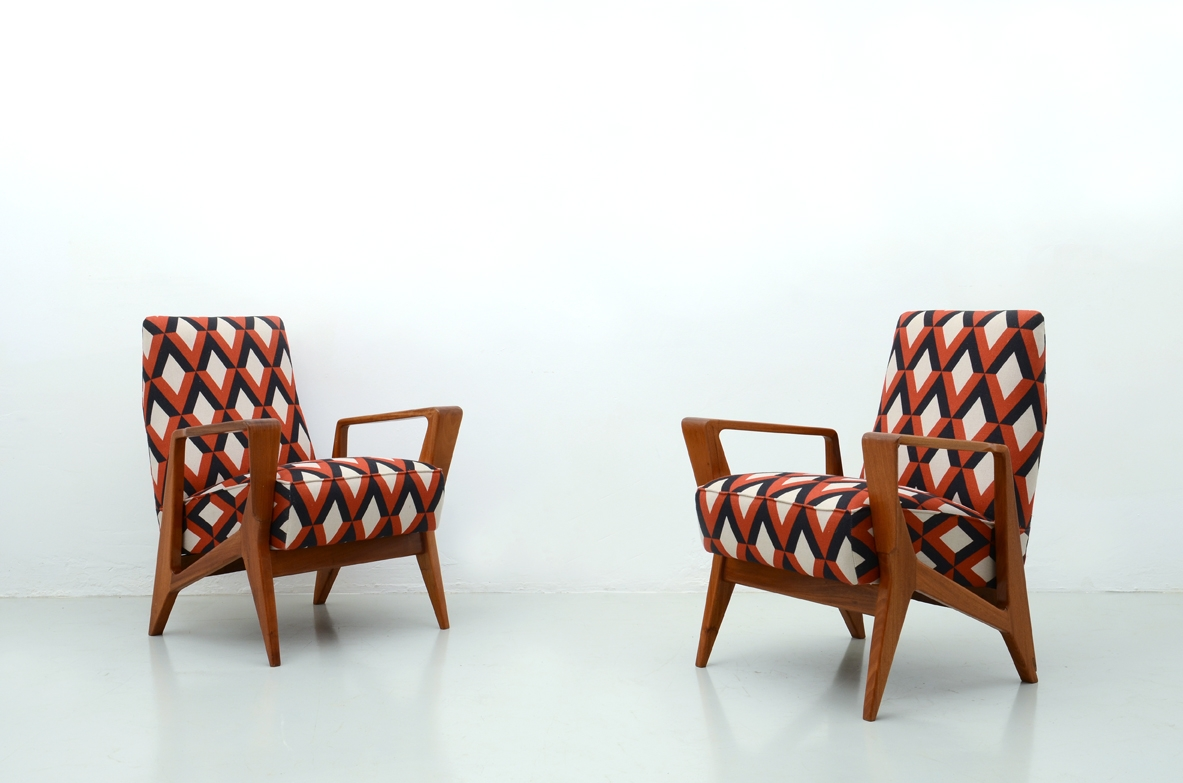 1950's Original Italian vintage pair of armchairs