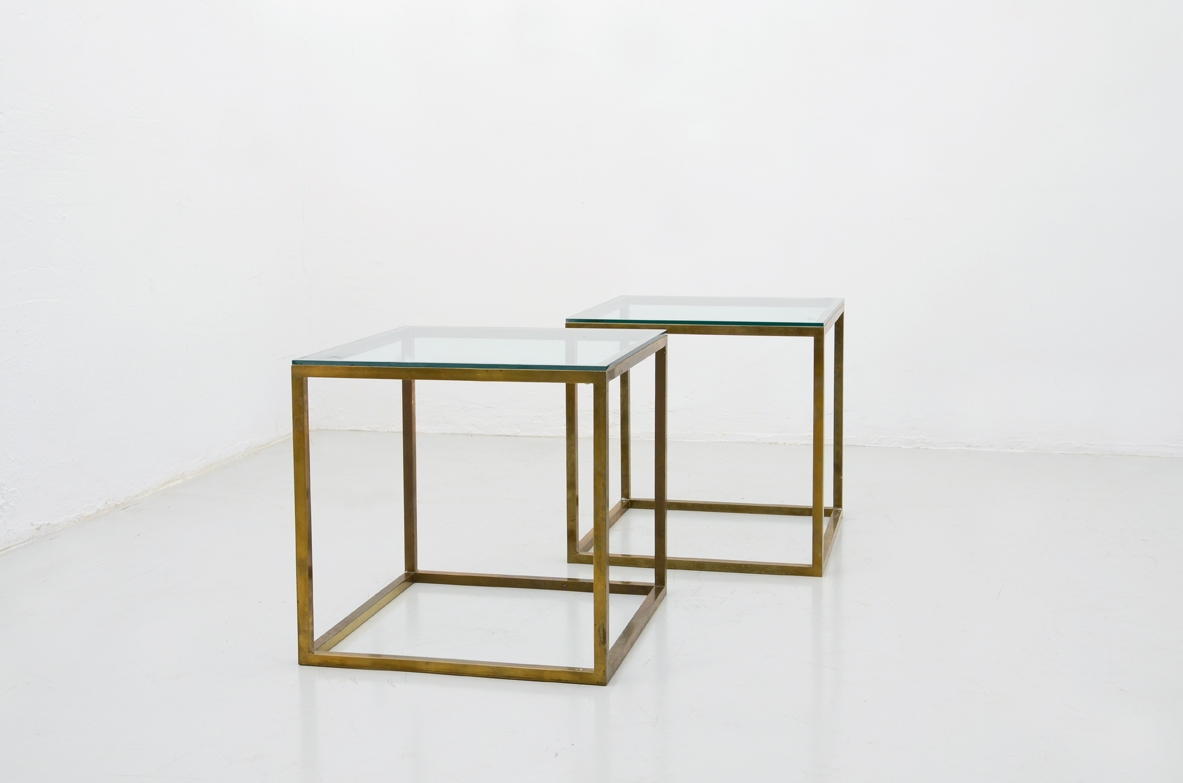 1960's pair of original italian coffee table in brass