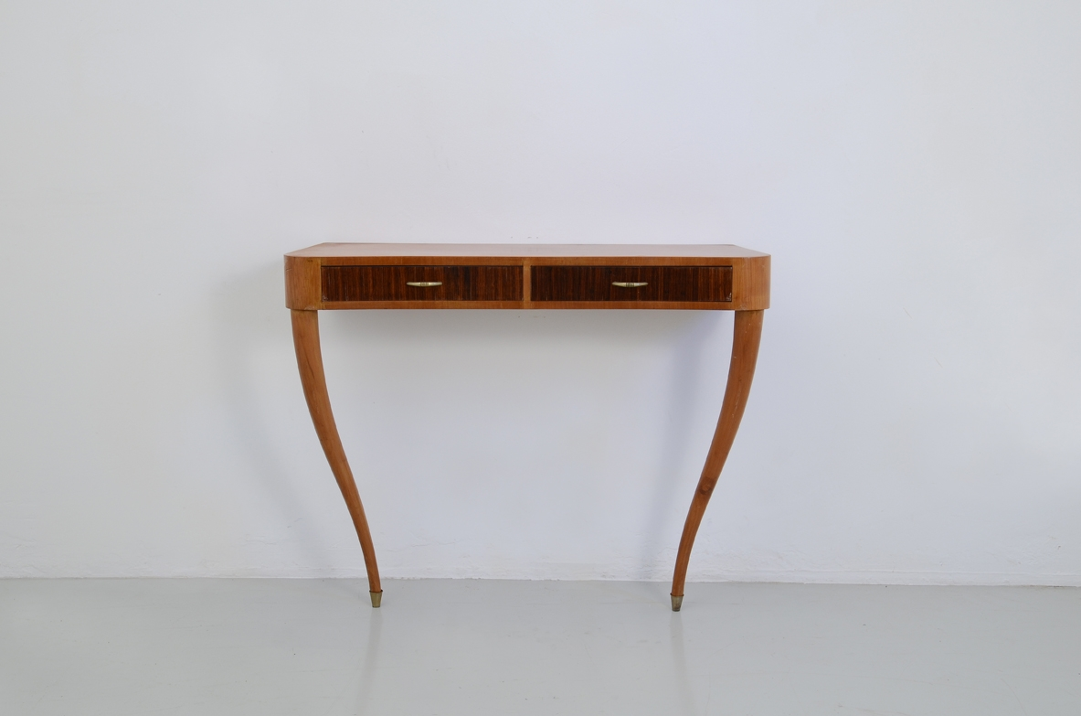 Italian 1950's console table in cherry wood with two drawers in macassar wood.