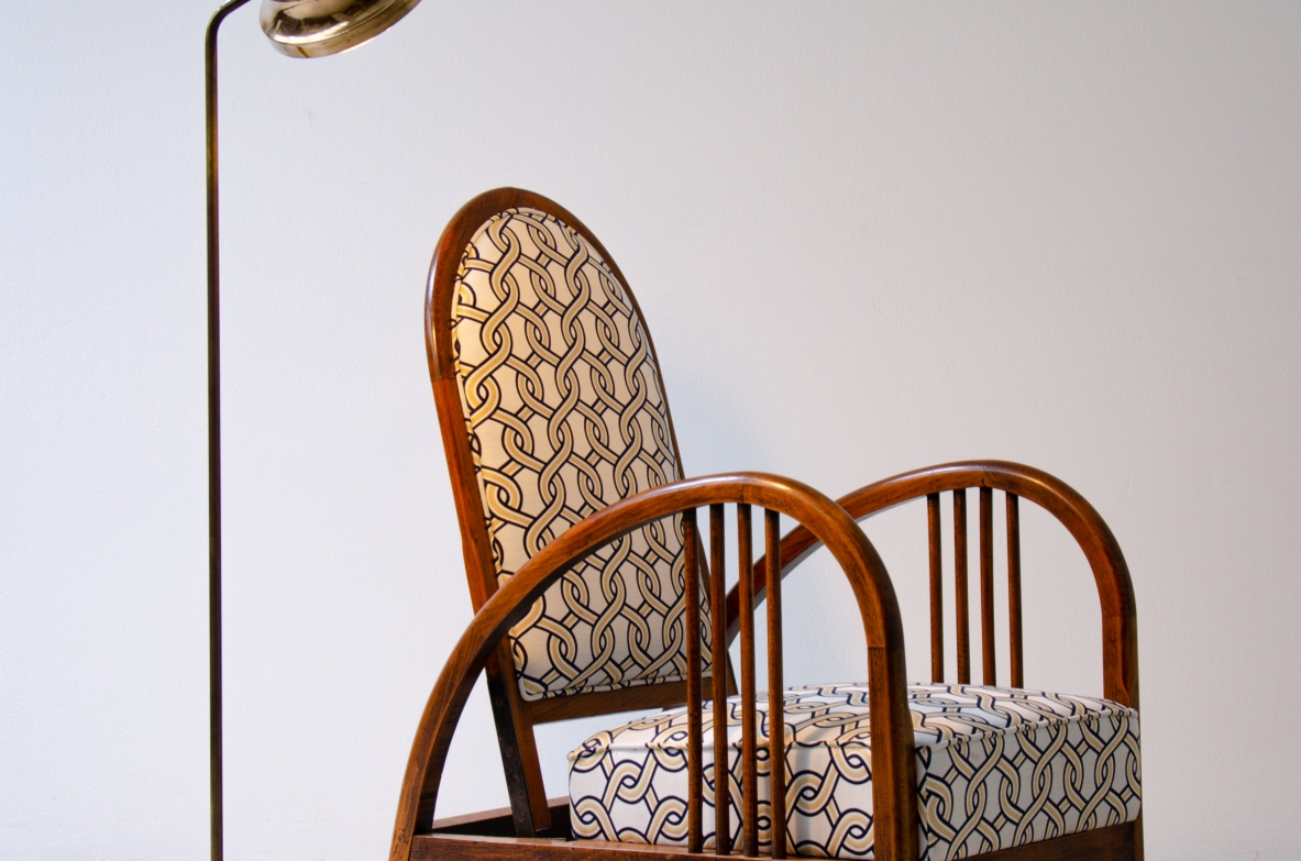 Beautiful French 1930's armchair in oak with adjustable back.