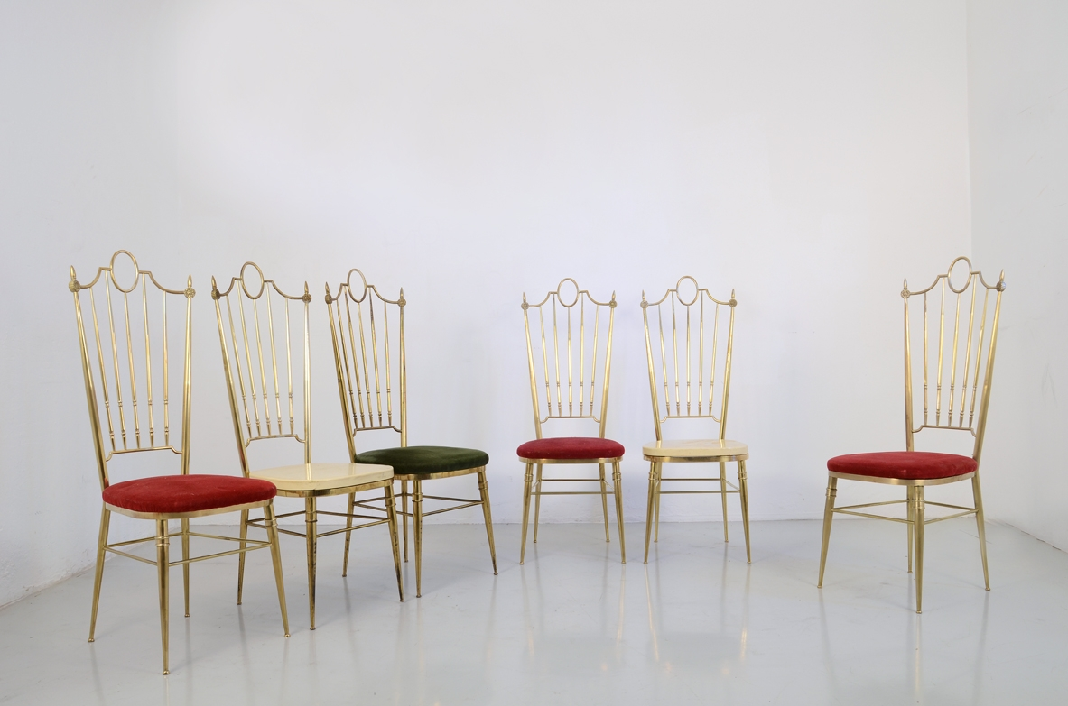set of six Italian 1950's high back dining chairs in bronze