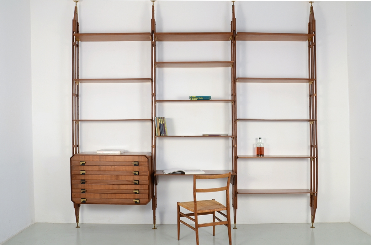 1950's Italian original bookcase in teak