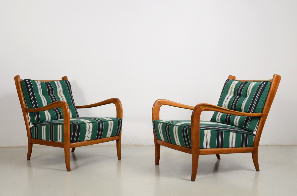 Paolo Buffa, pair of elegant armchairs in cherrywood, Italy 1940's.