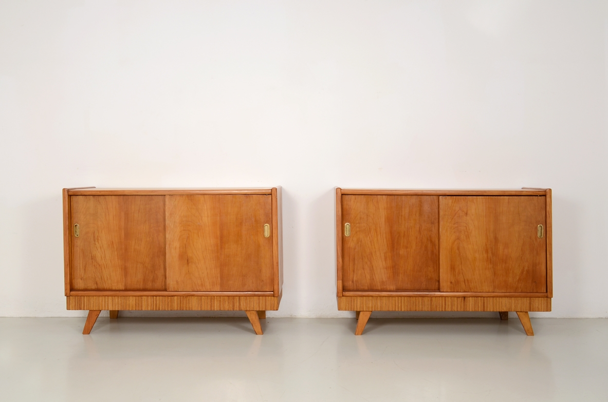 Pair of Italian 1950's unique sideboards in cherry wood.