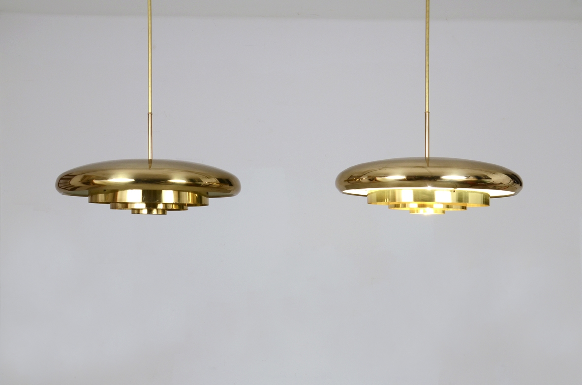 Rare pair of 1960's ceiling lamps in brass, Bergoms, Sweden.