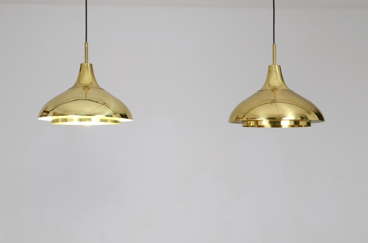 1960's ceiling lamps in brass, Bergoms, Sweden.