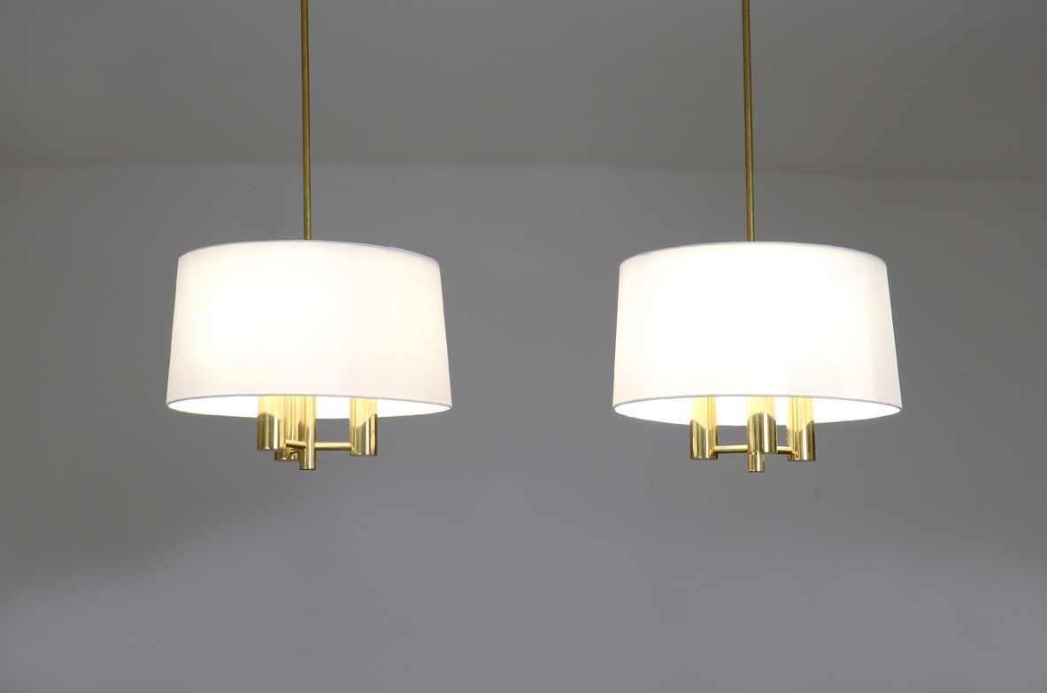 Pair of pendant brass lamp and silk hat, Sweden 1960ca