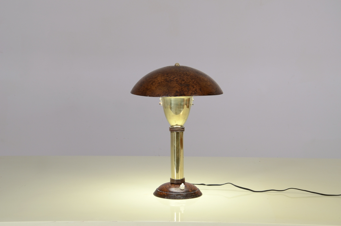Small brass and metal table lamp, France 1930ca