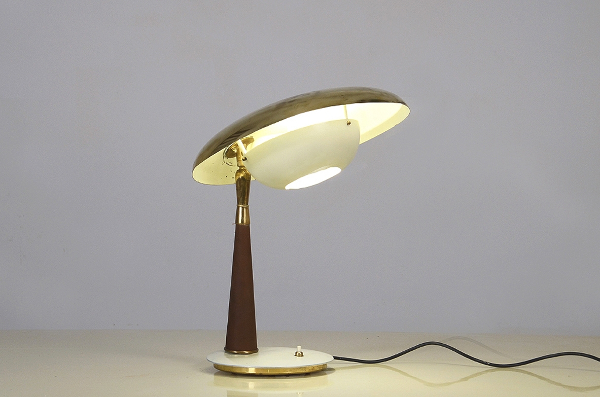Angelo Lelli, table lamp with leather stem and painted metal, 1956. Bibl. Arredoluce catalogo ragionato, Anty Pansera.pag 171
