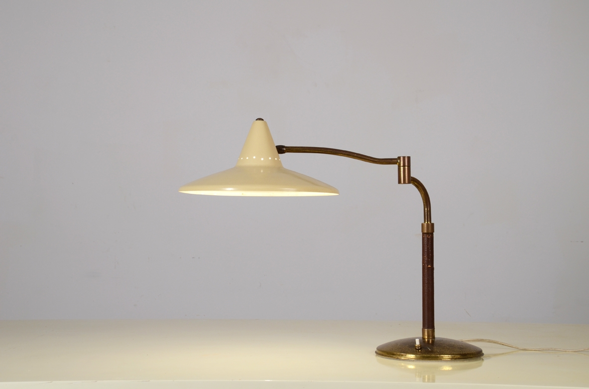 Table brass lamp stem and metal hat 1950ca